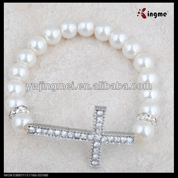 8mm white glass pearl beads rosary bracelet with sideway cross