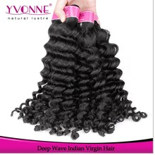 Fashion style deep wave virgin remy indian hair weave