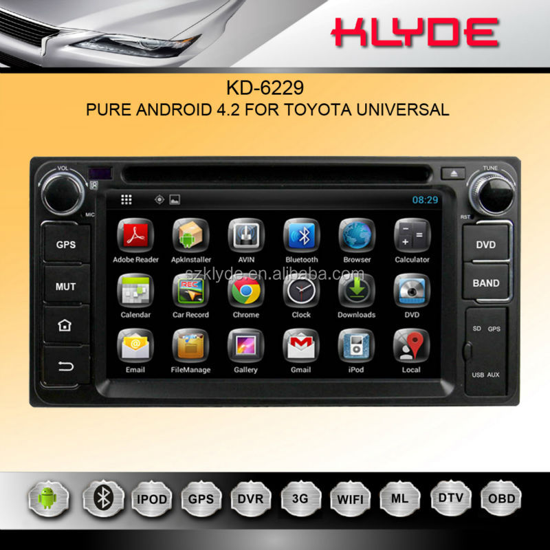 Pure Android 4.2 Capacitive multi-touch screen toyota universal 2 din car dvd player