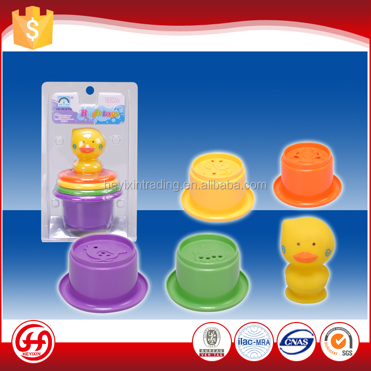 Good quality cute safety baby bucket duck floating bath toy set
