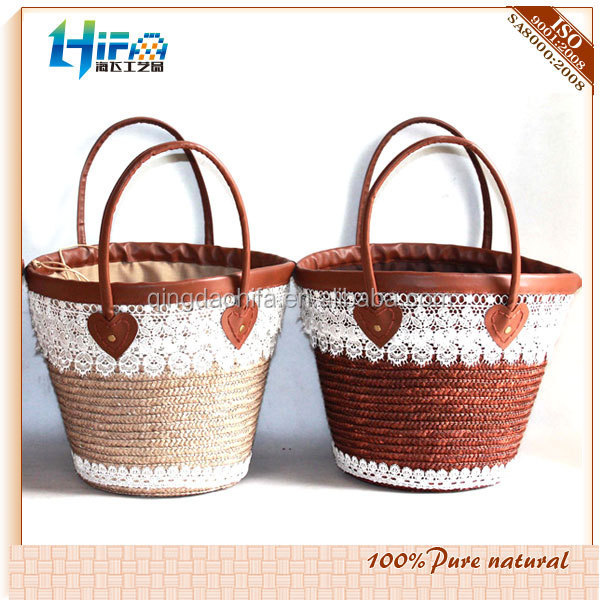 Hot selling straw basket bag matural handmade woven