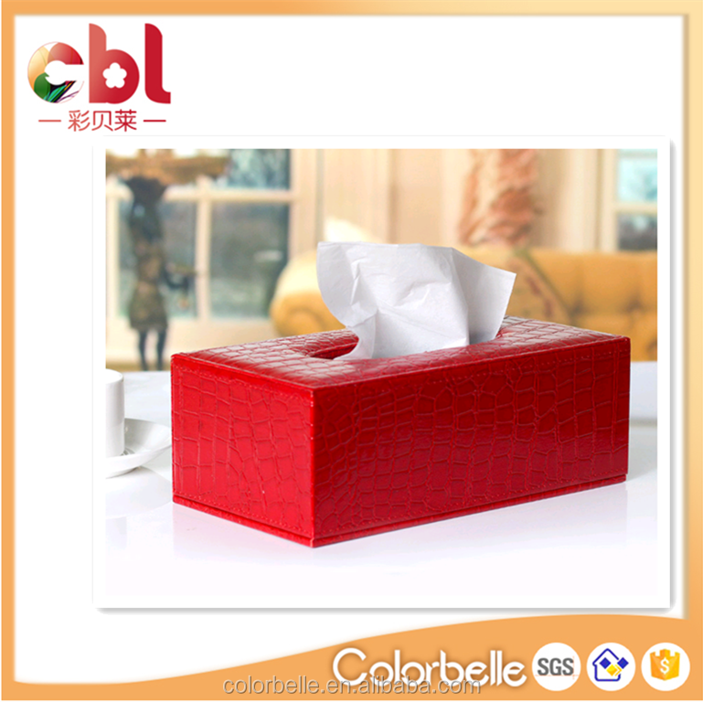 Red croco faux leather muti-functional custom big lots tissue box