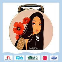 Customized sexy lady pattern lunch tin boxes with lock and handle