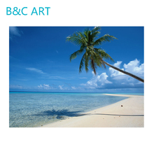 Definition fabric natural scenery coconut tree art painting beautiful seascape oil painting