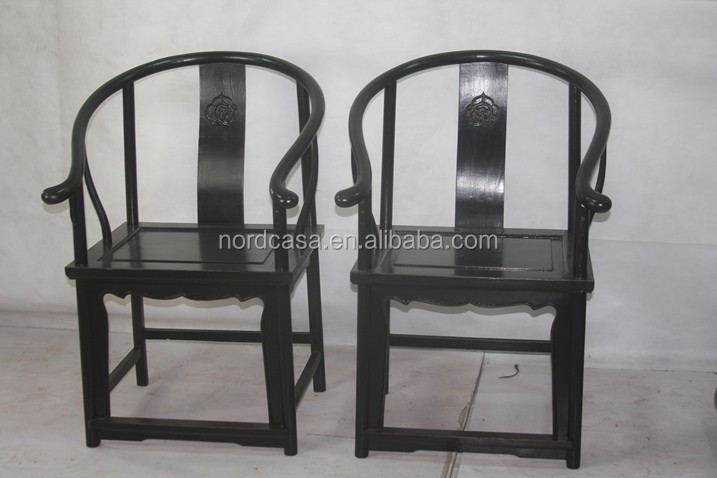 Chinese home decor antique black wooden chair