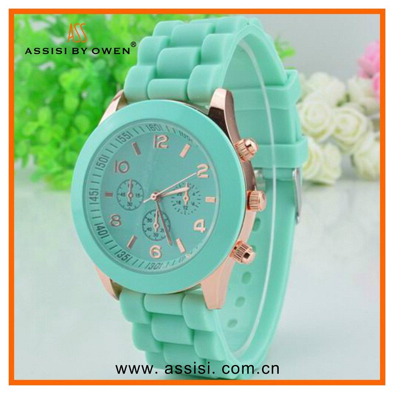 Assisi brand Ladies quartz select fashion custom made cheap colorful geneva silicon rubber colorful watch