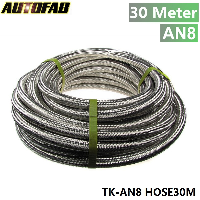 AUTOFAB - AN 8 30Meter Stainless Steel Fuel Oil Gas Braided Hose Line 1 Ft TK-AN8 HOSE30M