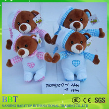 two colour high quality cute put on hat bear wear clothes soft plush baby Toy