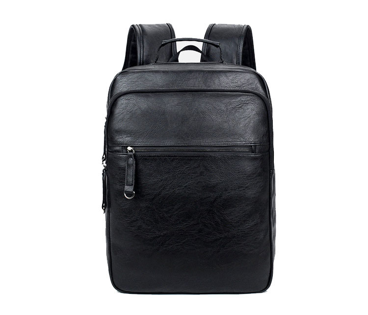 2018 stylish travel black PU leather laptop backpack, fashion school leather daily bagpack for teenager and college