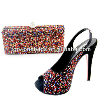 women wedding high heel shoes with matching bags/clutch