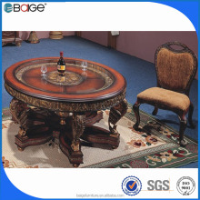 D-0092 poker glass and stone wrought iron dining table legs