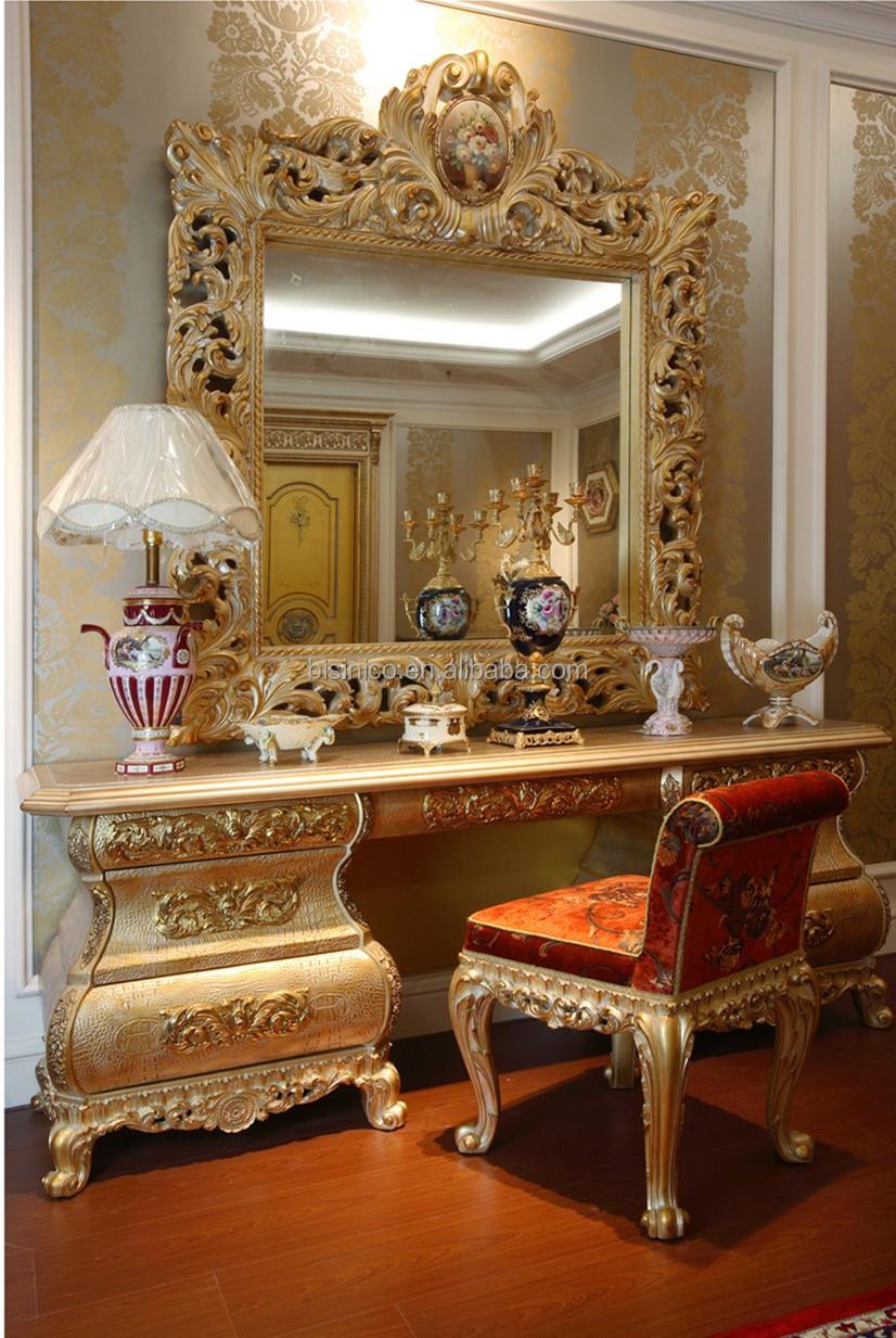 Luxury French Rococo Goldleaf Wood Vanity Makeup Dresser Table Mirror European Style Antique