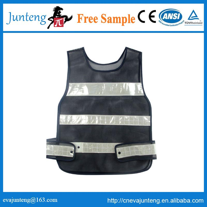 traffic work black mesh safety reflective vest