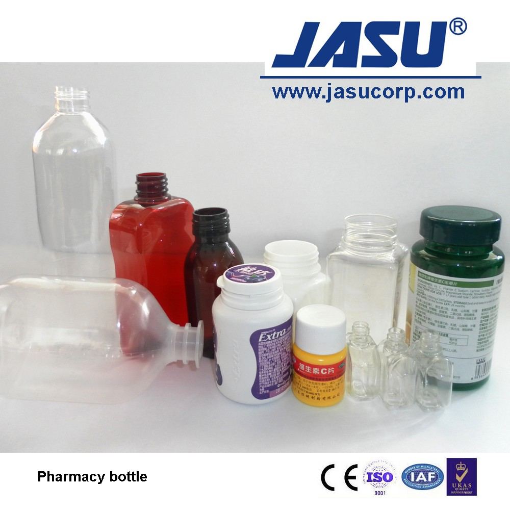 Jasu energy saving injection blow moulding machine for cosmetic pharmacy jars bottles with PP PC PET PS  materials