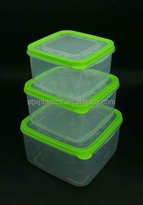 Plastic square rubber lid food container, stackable food storage box