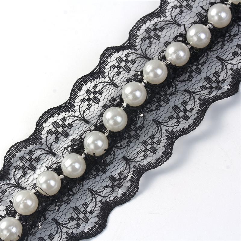 Polyester Lace Choker Necklace Black White Acrylic Imitation Pearl Charm Choker Necklace