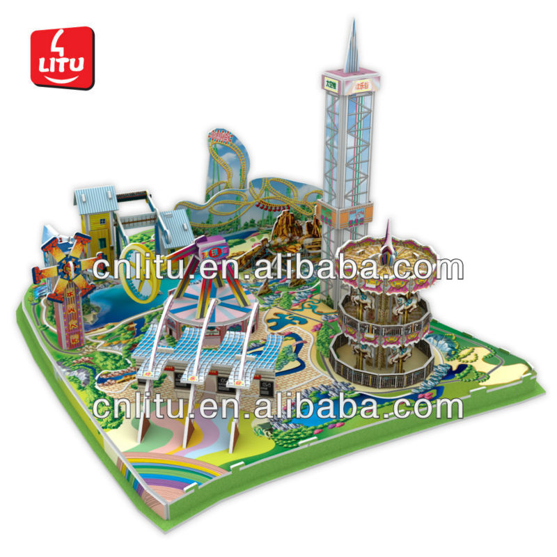 DIY 3d Puzzle Game Amusement Park handmade paper craft model