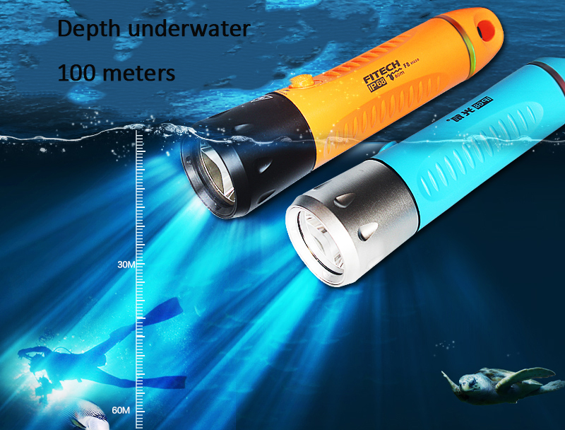 XML <strong>U2</strong> Fitech IP68 USB rechargealbe 18650 battery underwater <strong>LED</strong> <strong>diving</strong> torch