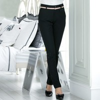 Hot Sale Professional Women's Pants Female Casual Solid Color Formal Full Length Trousers Mid Waist Bodysuit Sexy Capris