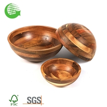 Wholesale Acacia Rustic Unfinished Wooden Soup And Salad Bowl