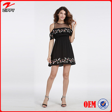 Latest wholesale new fashion fancy design ladies black summer vintage floral embroidery women frock dress