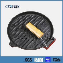 FDA certification hot sale preseasoned wooden handle cast iron meat grill pan fry pan