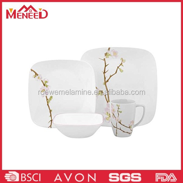 Household blossom print melamine square dinnerware sets white