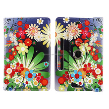 Multi color Flowers HD Design Universal 360 Rotary PU Leather Folio Stand Shockproof Flip Tablet Case