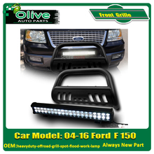 Matte Black Bull Bar Grill Guard For 04-16 Ford F150 Expedition Navigator & Lincoln heavyduty-offroad-grill-spot-flood-work