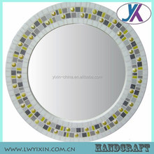 Bathroom wall compact acrylic glass msoaic round mirror centerpiece