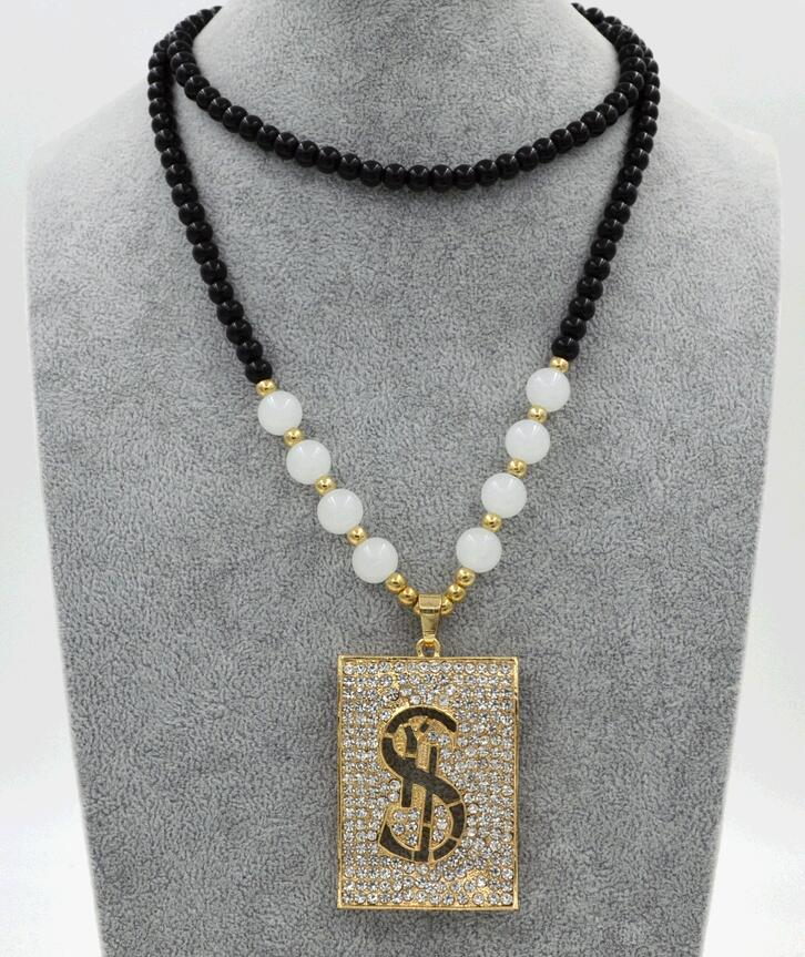 Fashionable Lofty New Dollar Sign Alloy Crystal Female Long Chain Necklace