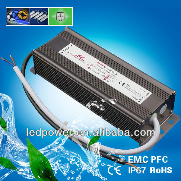 KV-12070-AS led switching power supply 12v 70W 5.8A PFC EMC