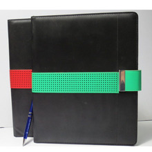 fashion notebook portfolio a5 leather portfolio with green strap
