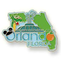 Free shipping 1Inch Soft Enamel Filled Custom Orlando Lapel Pin