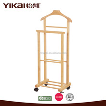High quality movable wooden clothes hanger stand