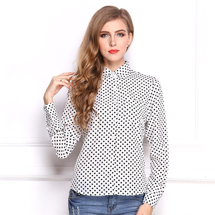 Wholesale OEM womens plain button down front Scallop Collar blank White Shirt long sleeve office fashion ladies long shirt