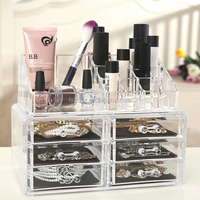 Clear Acrylic Lipstick Table Top Display Stand Cosmetic Display Case HS-AC01