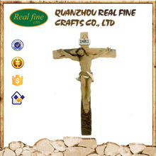 Wholesale resin wood jesus cross statue for decoration