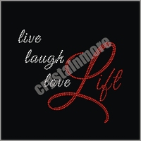 Live Laugh Love Lift Rhinestone Transfer Wholesale Custom