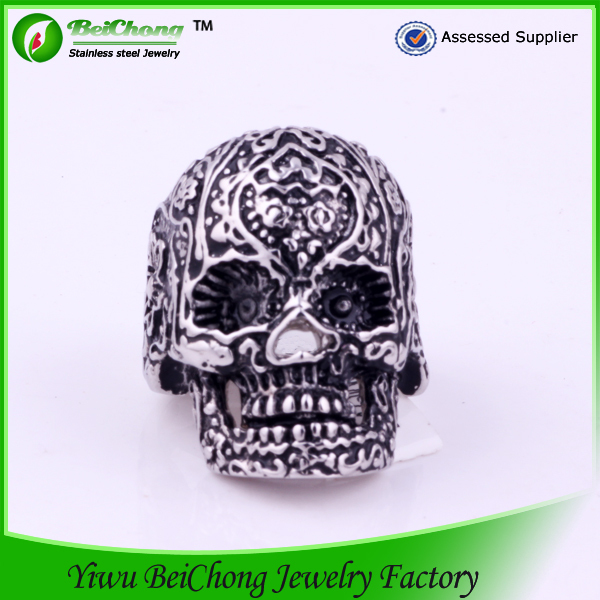 Mexico sugar skull rings made of 316l stainless steel
