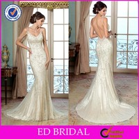 Mermaid Spaghetti Straps Embroidered Plunging Neckline Backless Tailored Wedding Dress Online Sale China