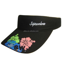 2015 100% Cotton foam hat top quality wholesale custom print and embroidery waterproof sun visor cap