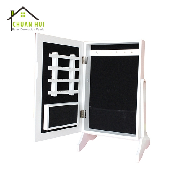 Tabletop White Modern Jewelry Armoire Cheval Mirror