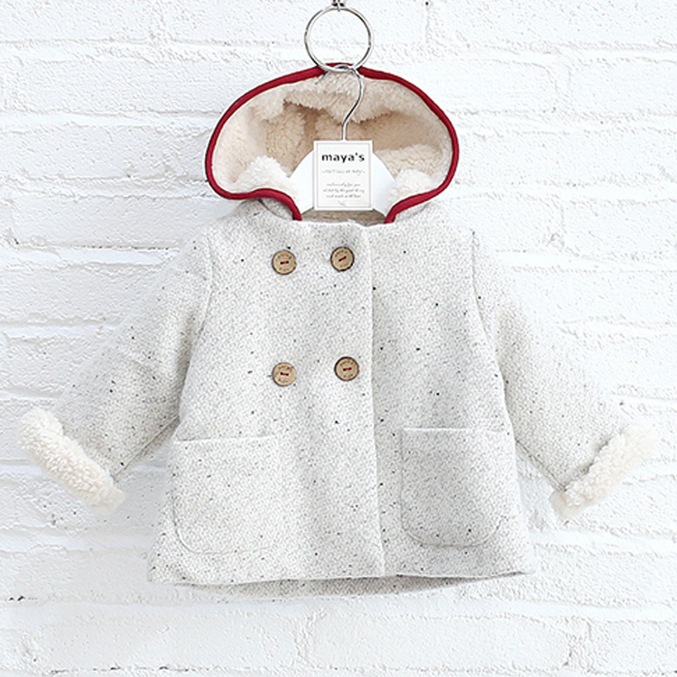 New products hooded latest hot sale custom kid girls tweed coat