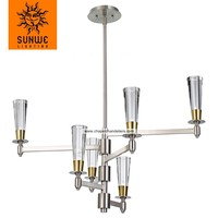 New design Steel Brushed Natural Brass 6 lights commercial chandeliers
