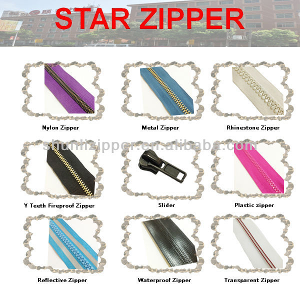 Rhinestone Nylon Metal zipper, Plastic rings & sliders manufacturer