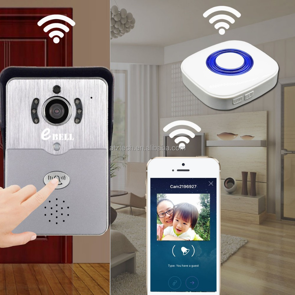ATZ eBELL Home Security Monitor Kit WiFi Video Door Bell With Wireless Door Chime 1MP Camera Free Smartphone APP
