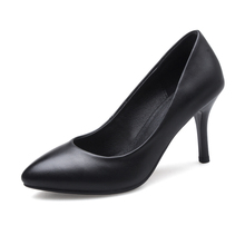YX10A684 2017 Office lady plain color pointed toe pencil high heel stiletto women low heel dress shoes