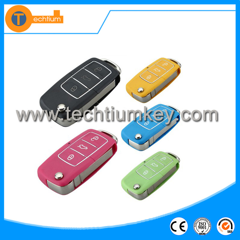 waterproof colorful key shell replacement for VW flip car remote key case