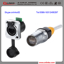 Cnlinko RJ45 female socket connector front fastened waterproof IP67 8P8C RJ45 panel mount connector IP67 rj45 ethernet connector